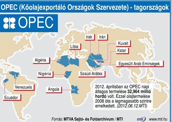 OPEC orszagok terkep
