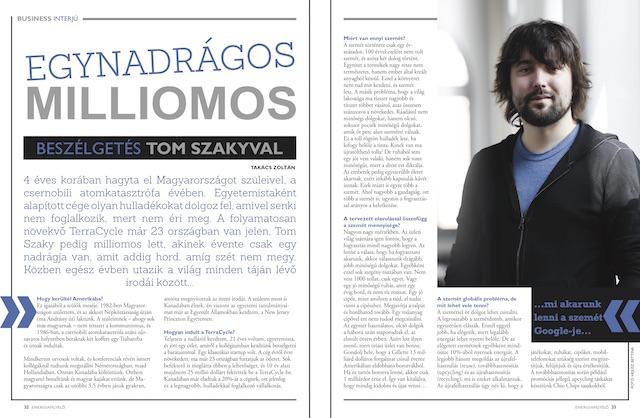 Egynadrágos milliomos, Tom Szaky Energiafigyelő magazin