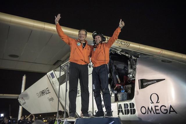André Borschberg és Bertrand Piccard Solar Impulse pilóták