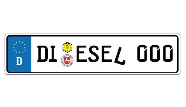 Német rendszámtábla diesel