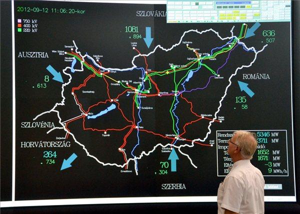 A rendszerirányítási terem monitorai a MAVIR Zrt. fővárosi székházában. MTI Fotó: Balaton József