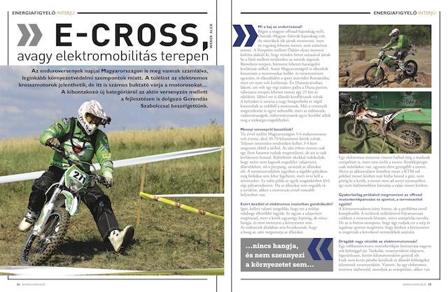E-CROSS, avagy elektromobilitás két keréken, Energiafigyelő magazin