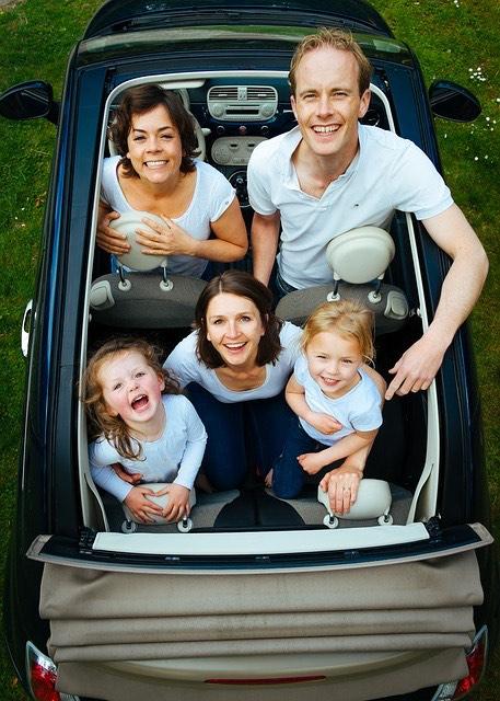 Autó család boldog cabrio