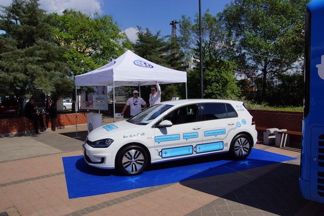 Egy VW e-Golf az eTourEurope 2016-rendezvényén Budapesten. fotó: energiaoldal.hu