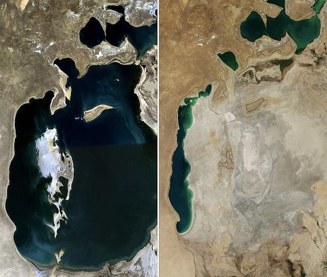 Az Aral-tó 1989-ben és 2014-ben. kép: wikipedia