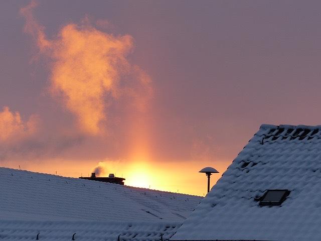 tél havas tető kémény